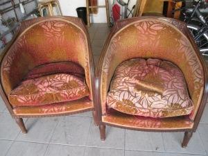 fauteuils tonneaux Art Déco avant réfection